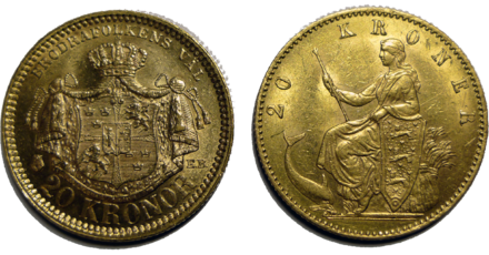 Two golden 20 kr coins from the Scandinavian Monetary Union, which was based on a gold standard. The coin to the left is Swedish and the right one is Danish. Two 20kr gold coins.png