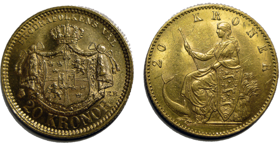 Two 20kr gold coins