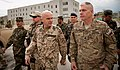 U.S. Army Lt. Col. John Van Aken, front right, accompanies German air force Brig. Gen. Gunter Katz on a walking tour around the Afghan National Defense University (ANDU) in Kabul, Afghanistan, May 7, 2013 130507-F-OF869-004.jpg
