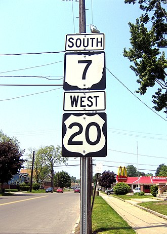 U.S. Route 20 - Sign for US 20 along with the sign for State Route 7 in Conneaut, Ohio