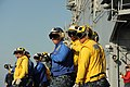 U.S. Sailors, assigned to the air department aboard the amphibious assault ship USS Boxer (LHD 4), perform flight deck firefighting drills while ported in San Diego, Calif., Aug. 8, 2012 120808-N-SS492-081.jpg
