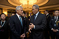 U.S. Secretary of Defense Chuck Hagel, center left, speaks with Chinese Deputy Prime Minister of Home Affairs Teo Chee Hean, center right, at the start of the Shangri-La Dialogue in Singapore May 31, 2013 130531-D-BW835-334.jpg