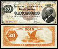 $20 Gold Certificate, Series 1882, Fr.1177, depicting James Garfield