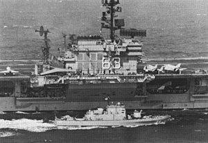 USS Beacon (PG-99) - Image: USS Beacon (PG 99) with USS Kitty Hawk (CVA 63) c 1970