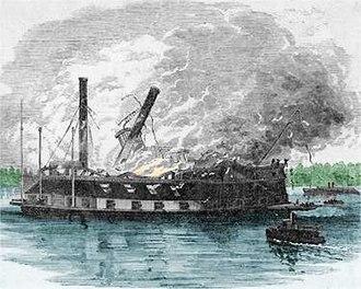 USS Black Hawk (1848) - USS Black Hawk on fire off Cairo.