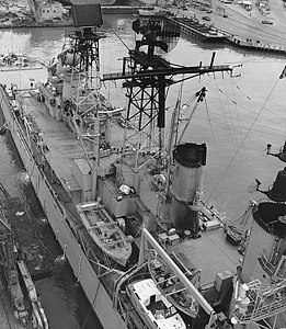 USS Providence (CLG-6) amidships at Hunters Point c1970.jpg