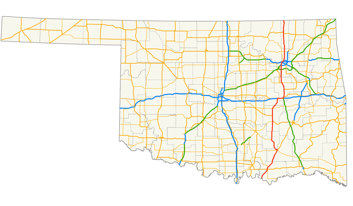 Oklahoma Highways US Route Tulsa To Caney KS Interstate - Oklahoma on the us map