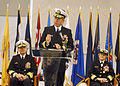 US Navy 041021-N-5576W-003 Rear Adm. Gary R. Jones delivers his remarks after assuming command of Naval Service Training Command-Navy Region Midwest.jpg