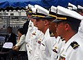US Navy 070709-N-2638R-006 Sailors assigned to Arleigh Burke-class guided-missile destroyer USS McCampbell (DDG 85) stand in ranks during the arrival ceremony for the ship on board Commander Fleet Activities Yokosuka (CFAY).jpg