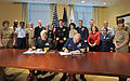 US Navy 090401-N-8273J-003 Chief of Naval Operations (CNO) Adm. Gary Roughead, left, and Coast Guard Commandant Adm. Thad W. Allen sign a memorandum of agreement for the Safe Harbor program during a signing ceremony at the Pent.jpg