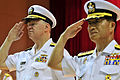 US Navy 090707-N-8273J-277 Chief of Naval Operations (CNO) Adm. Gary Roughead participates in an official honors ceremony and is escorted by Adm. Jung, Ok-Keun, Chief of Naval Operations of the Republic of Korea Navy.jpg