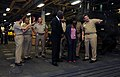 US Navy 091120-N-0890S-091 Capt. Lowell D. Crow, commanding officer of the USS Wasp (LHD 1), conducts a tour of the well deck to distinguished visitors from Jamaica.jpg