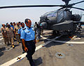 US Navy 100802-N-9706M-209 Maj. Gen. Mohamed Al-Sabah and other Kuwaiti military officials inspect a Kuwaiti Army AH-64D Apache helicopter on the flight deck of USS Dubuque (LPD 8).jpg