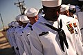 US Navy 110729-N-YR391-015 Sailors assigned to USS Doyle (FFG 39) stand in prayer during the ship's decommissioning ceremony at Naval Station Maypo.jpg