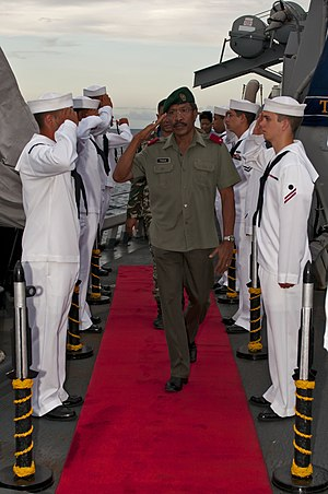 Timor Leste Defence Force - Brig. Gen Filomeno da Paixao, Vice Chief of Defence Force, aboard a visiting US warship.