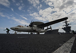US Navy 120125-N-DR144-369 An aircraft assigned to Carrier Airborne Early Warning Squadron 125 prepares to launch on the first all-female-crewed co.jpg
