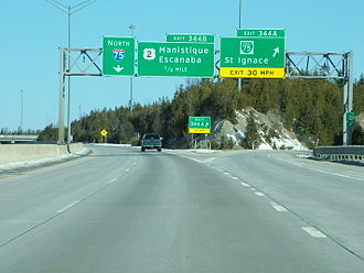 U.S. Route 2 in Michigan - The eastern terminus of US 2 in St. Ignace; until 1983 US 2 continued north of here along the I‑75 freeway.