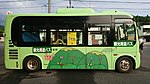 Ujitawara Sightseeing Bus(Hino Poncho) right side view at Ichu-mae Bus stop in Tachikawa, Ujitawara, Kyoto August 11, 2018.jpg