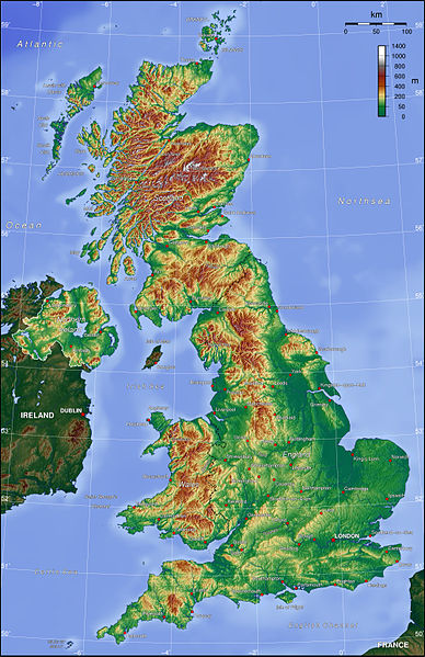 英国英文地图
