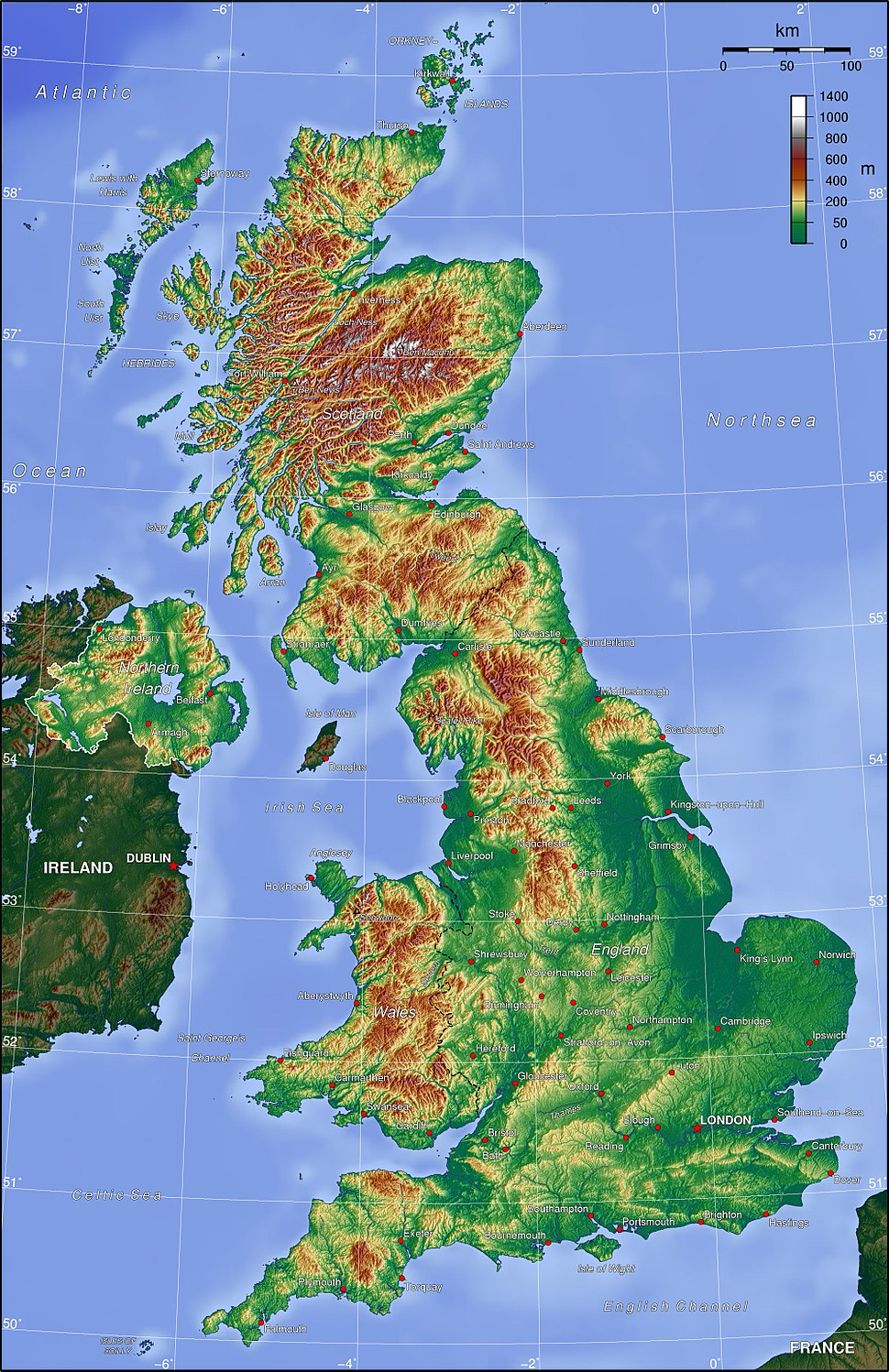 Map of United Kingdom showing hilly regions to north and west, and flattest region in the south-east.