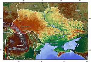 Geography of Ukraine - Relief map