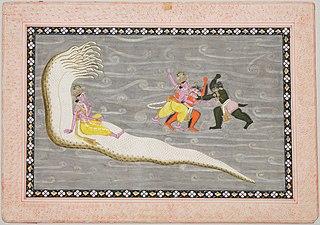Vishnu on Serpent Shesha and Vishnu Battling Demons Madhu and Kaitabha
