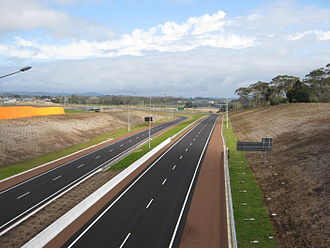 New Zealand State Highway 18 - The Hobsonville section of the Upper Harbour Motorway, looking west from the Trig Road Interchange