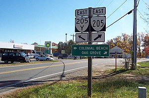 Virginia State Route 205 - Eastbound SR 205 at its junction with SR 205Y in Colonial Beach