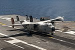 VRC-40 C-2A Greyhound landing on USS George H.W. Bush (CVN-77) 160811-N-YL257-149.jpg