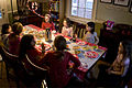 Valentine day tea party - eight girls and little brother.jpg