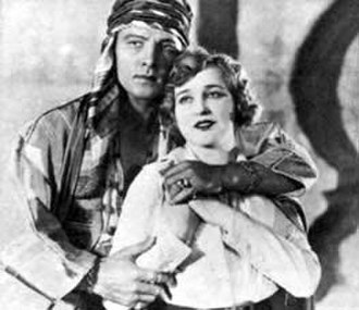 The Sheik (film) - Rudolph Valentino as Sheik Ahmed and Agnes Ayres as Lady Diana.