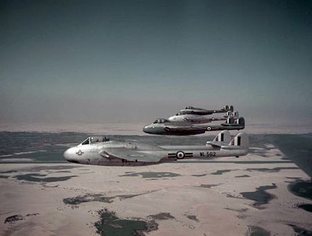 A formation of Vampire FB9s belonging to No. 213 Squadron flying over Egypt, 1952 Vampire FB9s 213 Sqn RAF over Egypt 1952.jpg