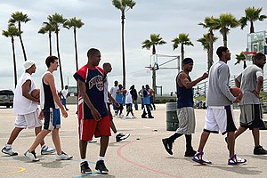 Streetballers at the Venice Beach basketball courts, USA.