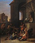 Verelst, Pieter Harmensz. - An Italian street scene with Bamboccianti playing cards and a quack preparing concoctions.jpg