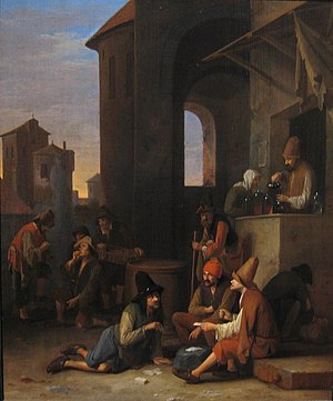 Pieter Hermansz Verelst - An Italian street scene with Bamboccianti playing cards and a quack preparing concoctions.