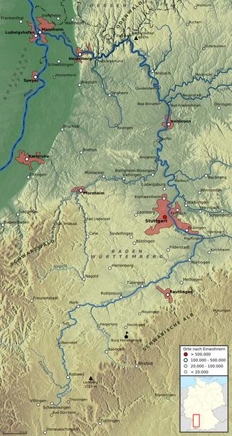 Verlauf des Neckars