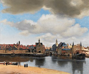 Pieter van Ruijven - Johannes Vermeer, View of Delft (1660-61), oil on canvas, 96.5 × 117.5 cm; a painting once owned by Van Ruijven