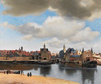 Oil paint - View of Delft in oil paint, by Johannes Vermeer.