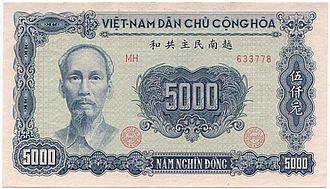 North Vietnamese đồng - Image: Vietnam 5000 Dong 1953 Averse