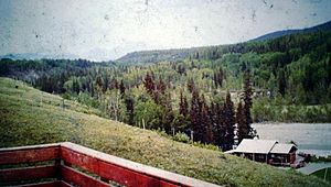 Ghost River Wilderness Area - View of home from our verandah in the Ghost River Valley, Alberta. 1970