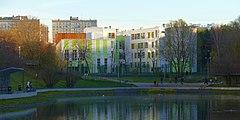 View of Zapyataya Pond and School 46 from Yugo-Zapadniy forrest park - 20181105 15409.jpg