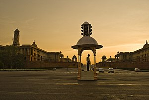Rajpath - Image: Vijay Chowk at Rajpath, with Secretariat Buildings in the background, New Delhi