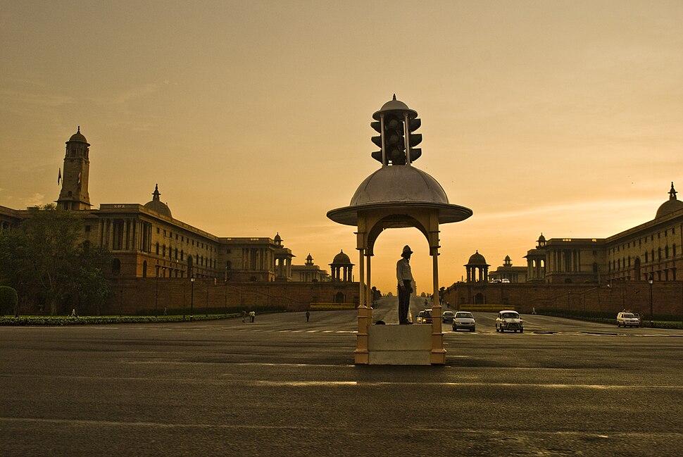 Vijay Chowk at Rajpath, with Secretariat Buildings in the background, New Delhi
