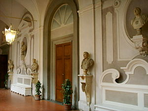 Villa del Poggio Imperiale - The interior of the glazed arcade which surrounds the principal courtyard