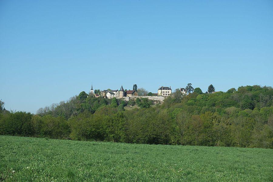 Vue du bourg de Champallement depuis l'Est. De gauche à droite: l'église Saint-Eustache, la mairie, le château. Département de la Nièvre. France.