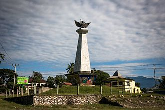 East Timor genocide - Monument with the National emblem of Indonesia in Viqueque (2016)
