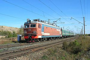 Bo-Bo-Bo - Rigid electric Bo-Bo-Bo with train, near Orenburg, 2006