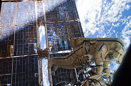 Cosmonaut Sergey Volkov works outside the International Space Station on August 3, 2011. Volkov during Russian EVA28.jpg