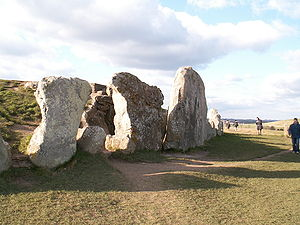 Chambered long barrow - The stone facade of West Kennet Long Barrow in Wiltshire.