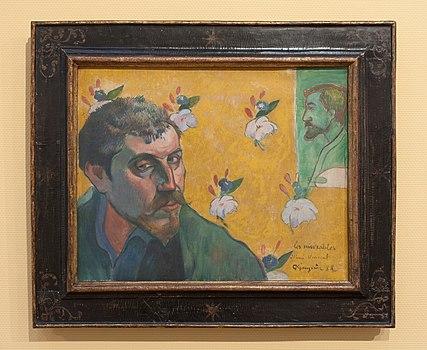 WLANL - Pachango - Zelfportret met portret van Bernard, 'Les misérables', Paul Gauguin (1888).jpg